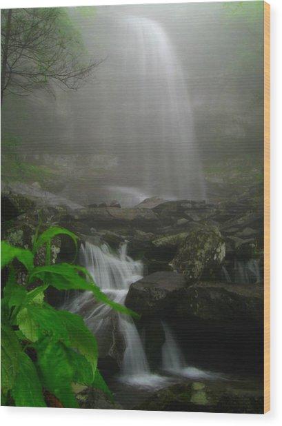 Rainbow Falls In Fog Wood Print