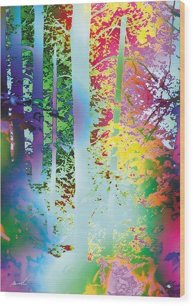 Rainbow Forest Wood Print by The Art of Marsha Charlebois