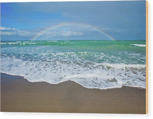 Rainbow Over Ocean Wood Print by John White Photos