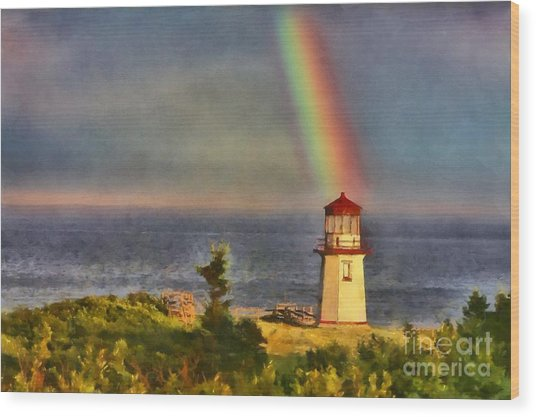 Rainbow Over The Lighthouse In Perce Quebec Wood Print