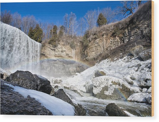 Rainbow Over The Webster's Fallslls Wood Print by Luba Citrin