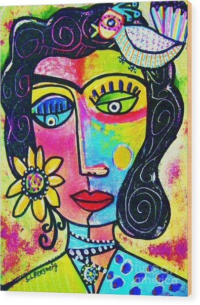 Rainbow Sunshine Frida Wood Print
