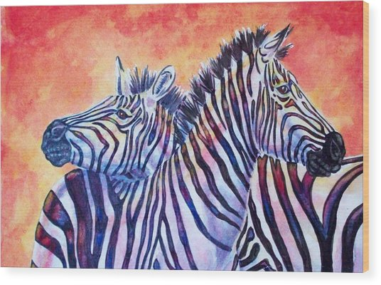Rainbow Zebras Wood Print by Diana Shively