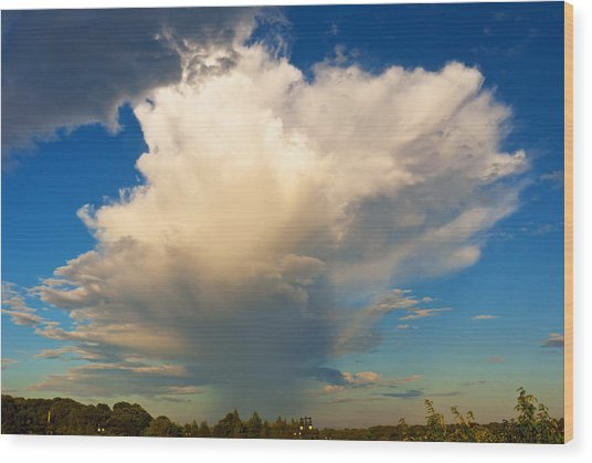Raincloud Over Cape Cod Canal Wood Print