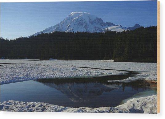 Rainier Reflected Wood Print
