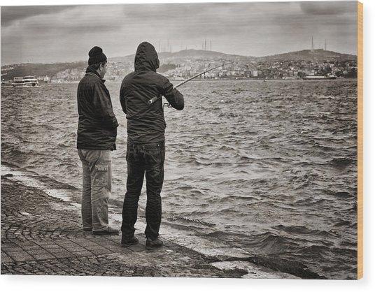 Rainy Day Fishing Wood Print