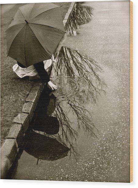 Rainy Day Solitude Wood Print