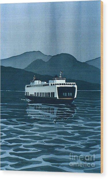 Rainy Ferry Wood Print