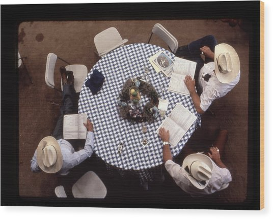 Ranchers At The Round Table Wood Print