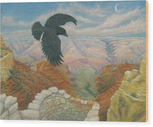 Raven Over The South Rim  Wood Print by Marcia  Perry