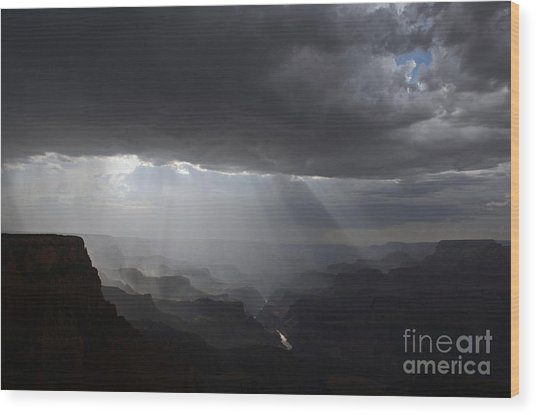 Rays In The Canyon Wood Print