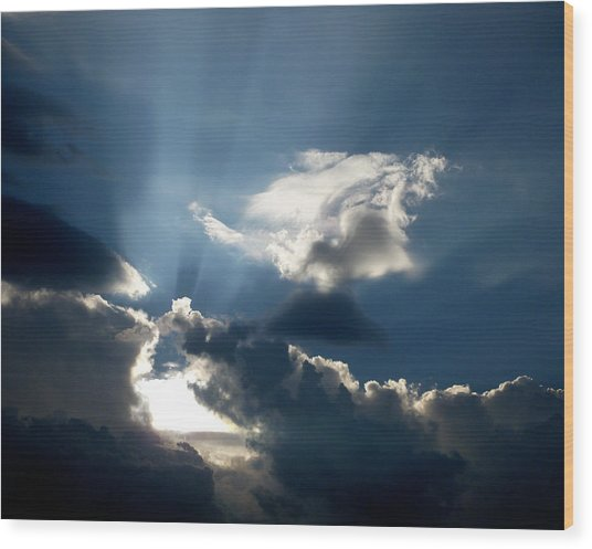Rays Of Light Wood Print