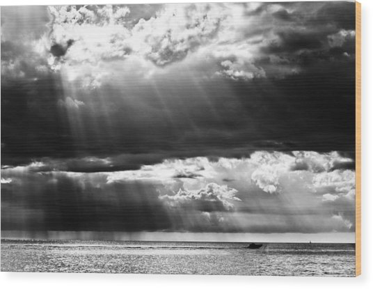 Rays Of Light Wood Print by Mike Rivera
