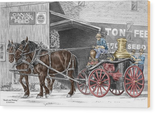 Ready And Waiting - Canal Fulton Ohio Fire Engine Print Wood Print
