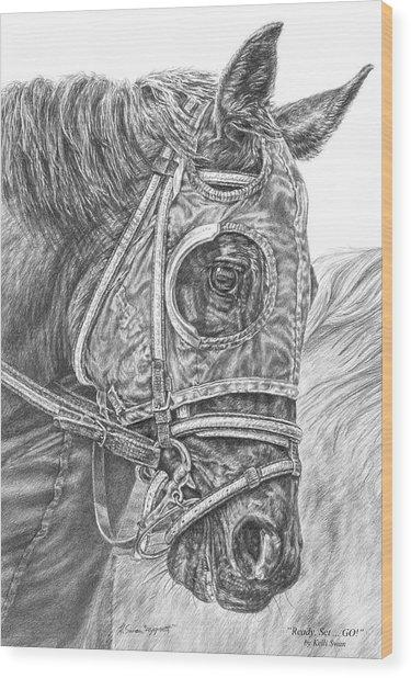 Ready Set Go - Race Horse Portrait Print Wood Print