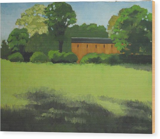 Red  Barn  In  Meadow Wood Print by Robert Rohrich