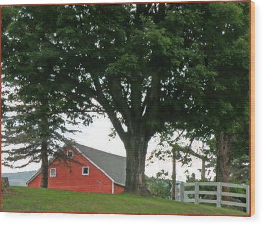 Red Barn White Fence Wood Print