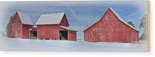 Red Barns In The Snow Wood Print