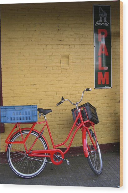 Red Bike With Blue Basket Wood Print by Jill Pro