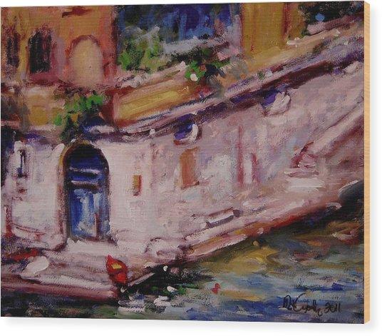 Red Boat Blue Door Wood Print by R W Goetting