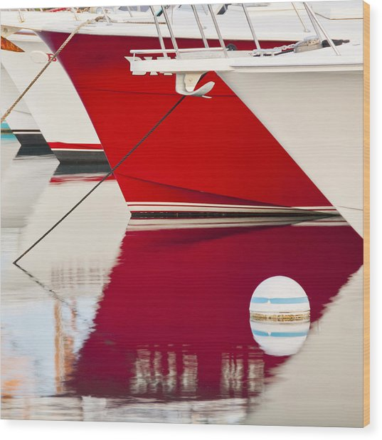Red Boat Reflection Wood Print