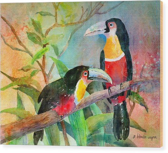 Red-breasted Toucans Wood Print