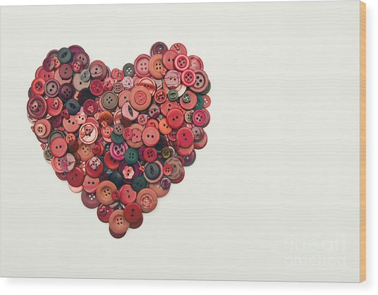 Red Button Heart Wood Print by Catherine MacBride