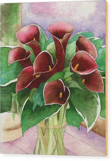 Red Calla Lilies Wood Print by Eunice Olson