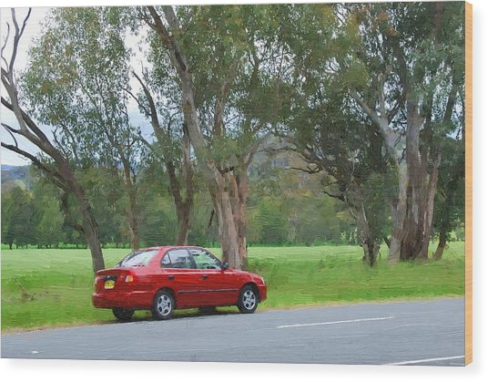 Red Car In The Countryside Wood Print