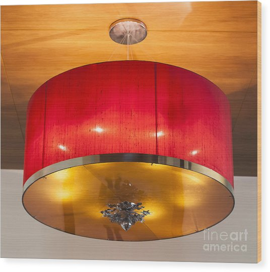 Red Circles Chandelier  Wood Print by Chavalit Kamolthamanon