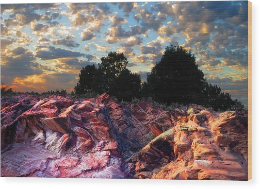Red Cliff Sunset Wood Print by Ric Soulen