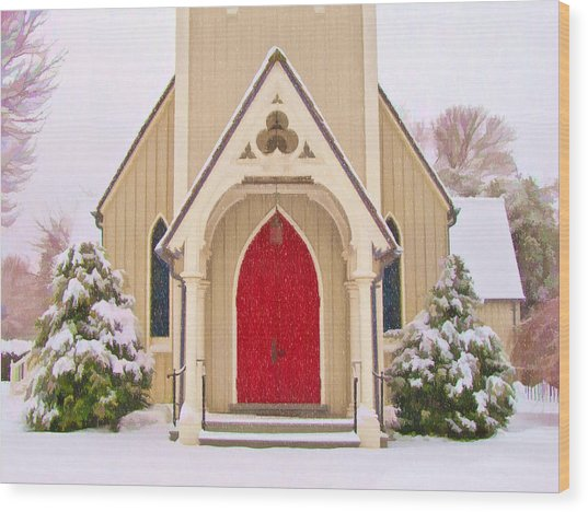 Red Door Church Wood Print