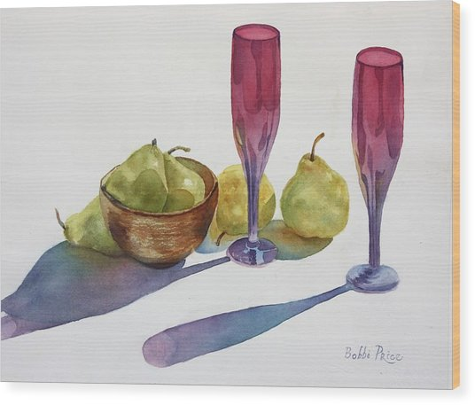 Red Flutes And Pears Wood Print by Bobbi Price