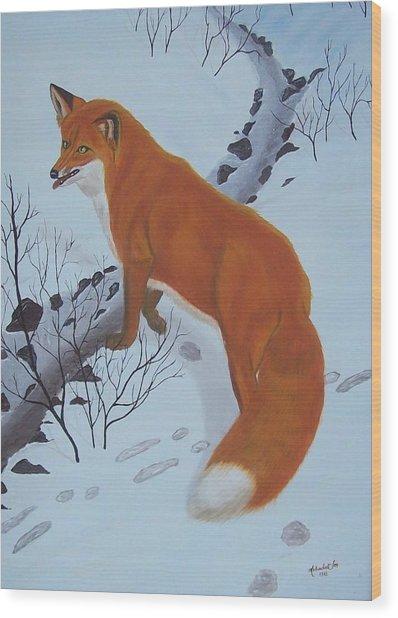 Red Fox In Snow Wood Print by Melinda Fox