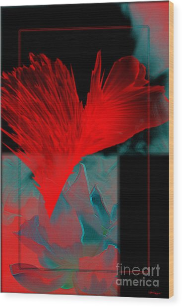 Red Heart Flower Wood Print by Christine Mayfield
