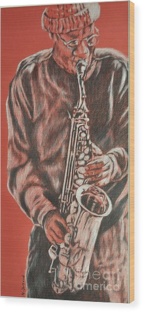 Red Hot Sax Wood Print