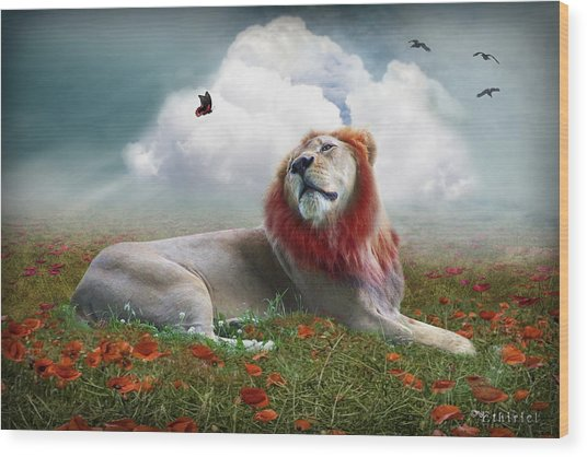 Red Lion Wood Print