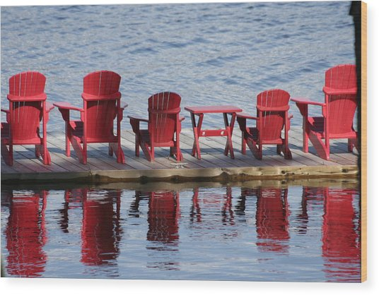 Red Muskoka Chairs Wood Print by Carolyn Reinhart