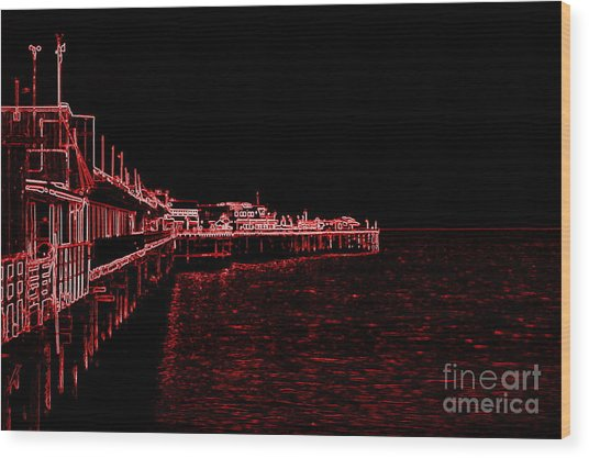 Red Neon Wharf Wood Print