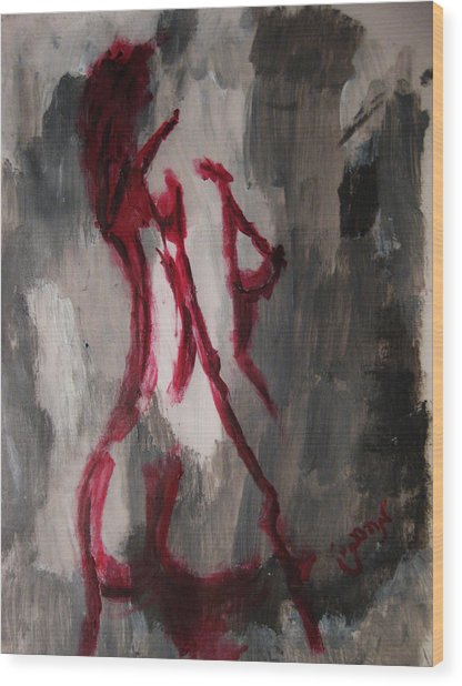 Red Nude Young Female Girl In Shades Of Melting Grey Contemporary Modern Painting Wood Print