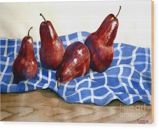 Red Pears Wood Print