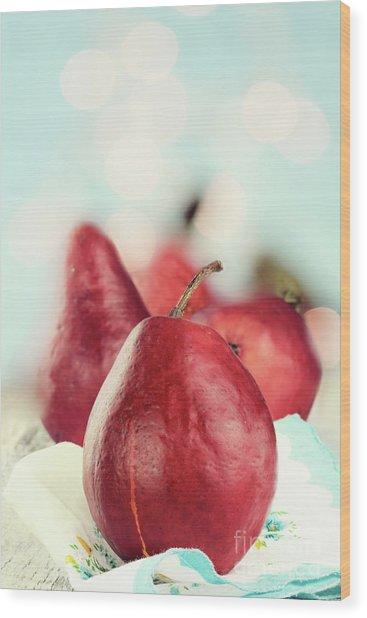 Red Pears Wood Print