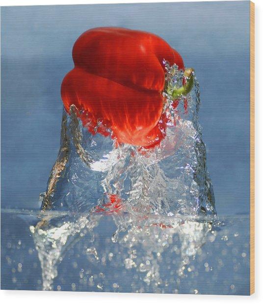 Red Pepper Splash Wood Print