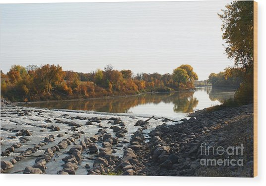 Red River Fall Of The Year Wood Print by Steve Augustin