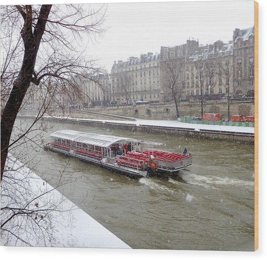 Red Riverboat On The Seine Wood Print