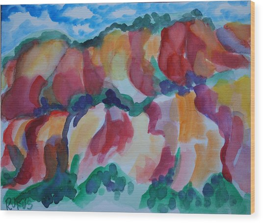 Red Rock Landscape Wood Print by Rufus Norman