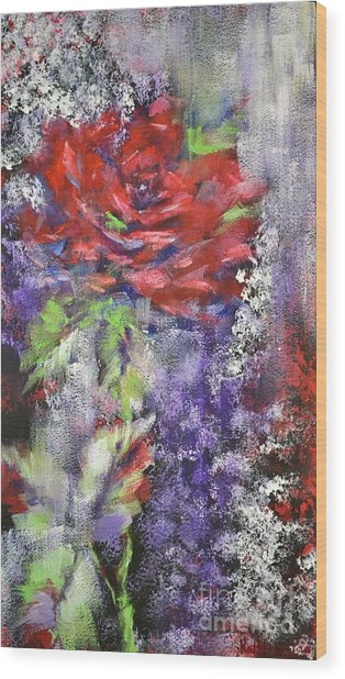 Red Rose In Winter Wood Print