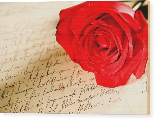 Red Rose Over A Hand Written Letter Wood Print