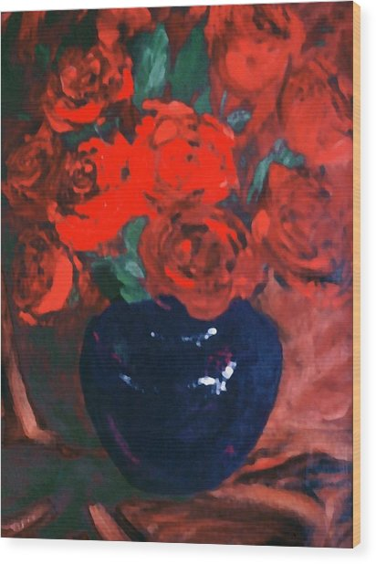 Red Roses Blue Vase Wood Print