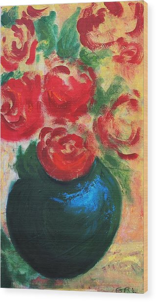 Red Roses In Blue Vase Wood Print